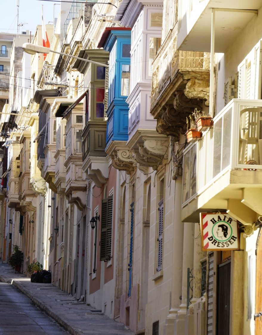 Town house balconies in Street Sliema Malta