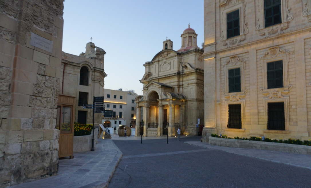 Street and square in Valetta Malta at sundown