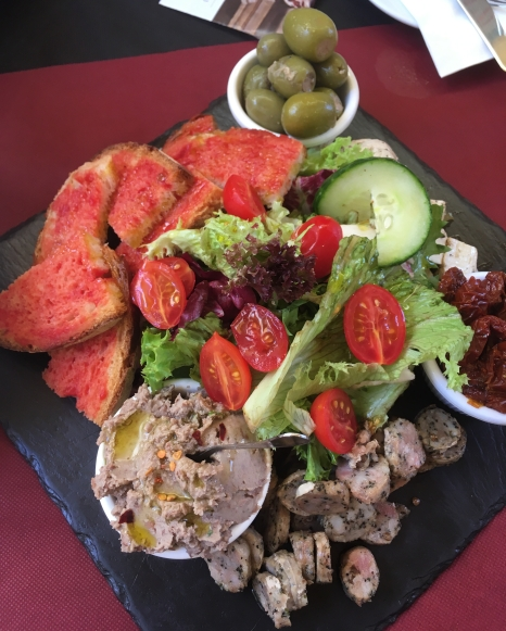 platter of tomatoes, dip salad, bread Maltese specialities