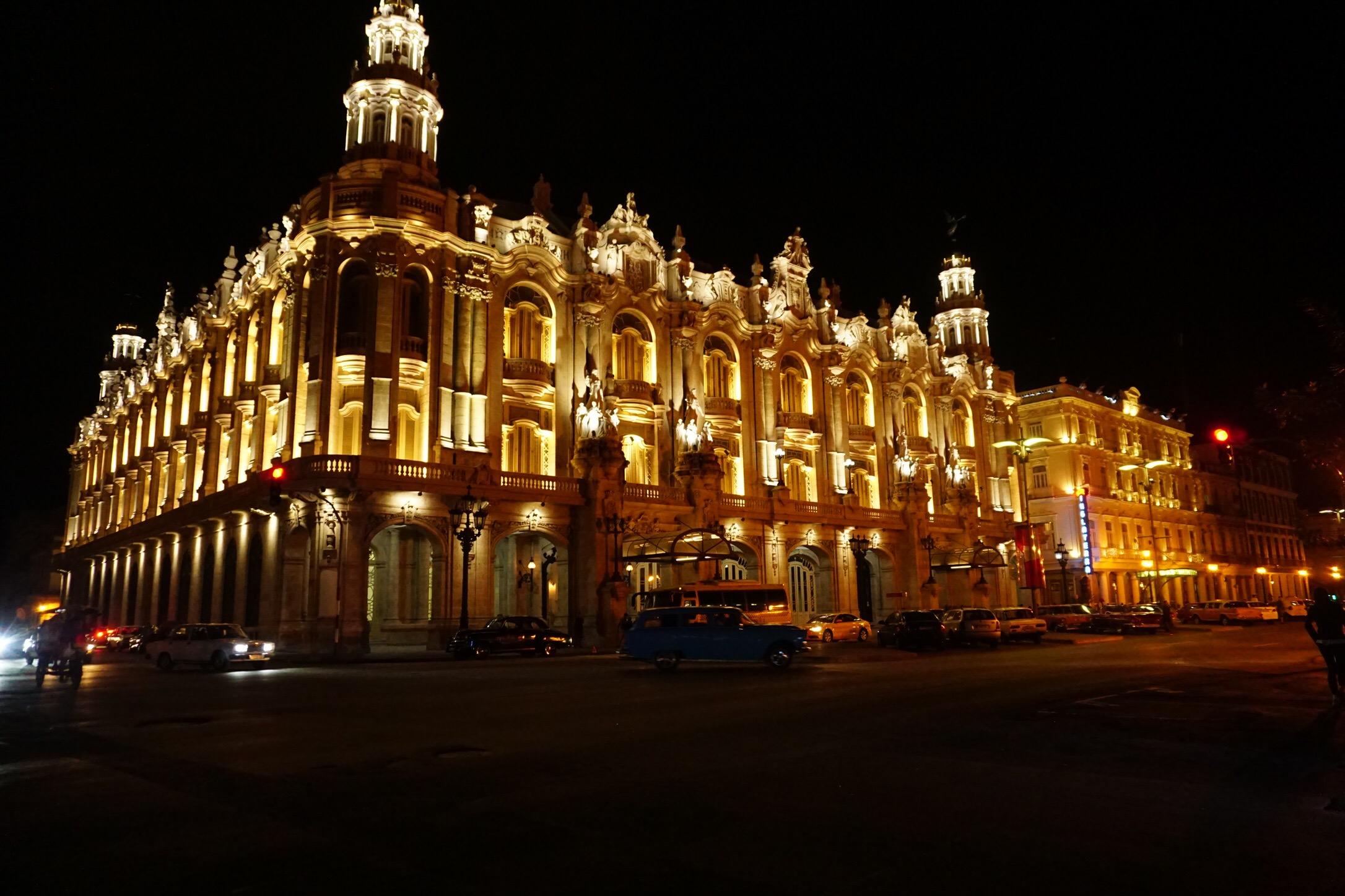 Gran Teatro de la Habana by night before hurricane Irma