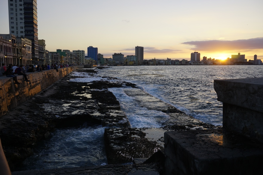 Havana, the malecon at sundown