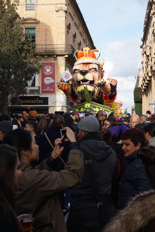 floats streets Valetta carnival in Malta