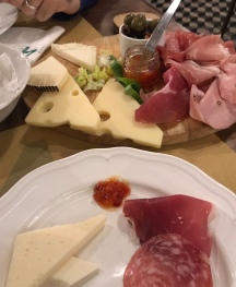 Food platter of cheese and ham